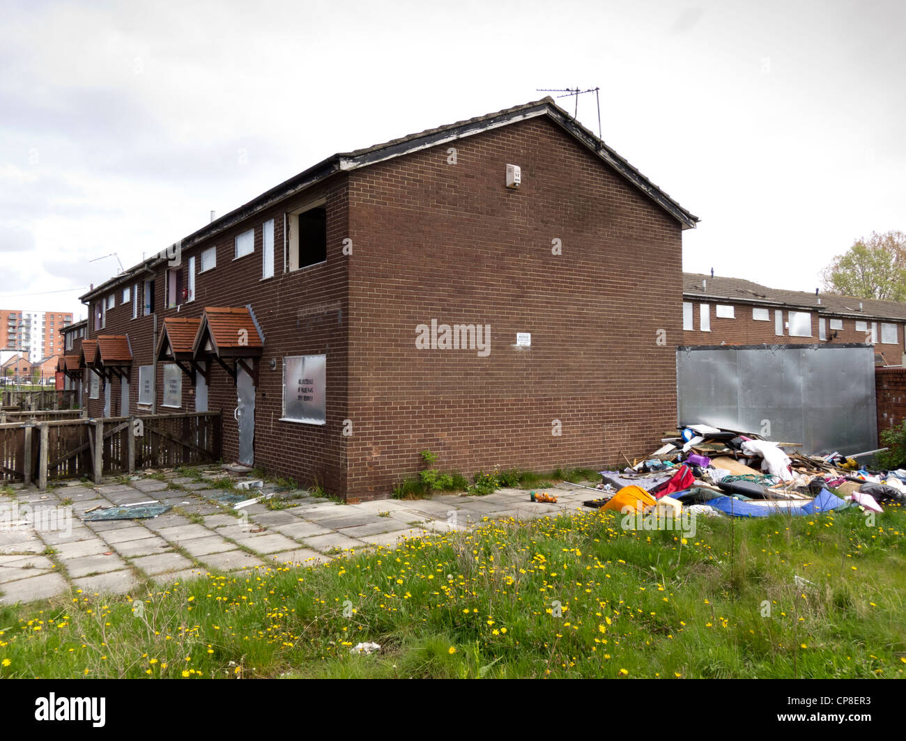 England, Salford, Lower Broughton, 1980's council housing ready for demolition - Stock Image