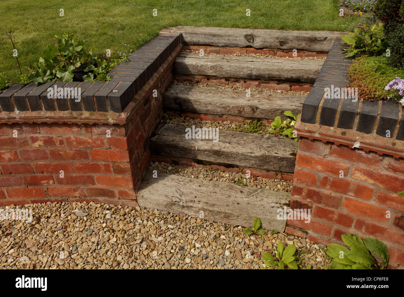 Railway sleepers steps in a garden UK
