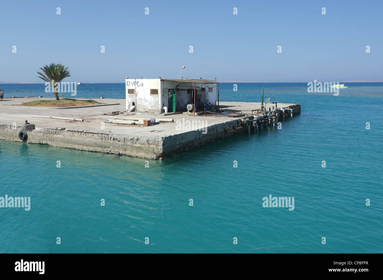 Pier with built structure. Red sea, Hurghada, Egypt - Stock Image