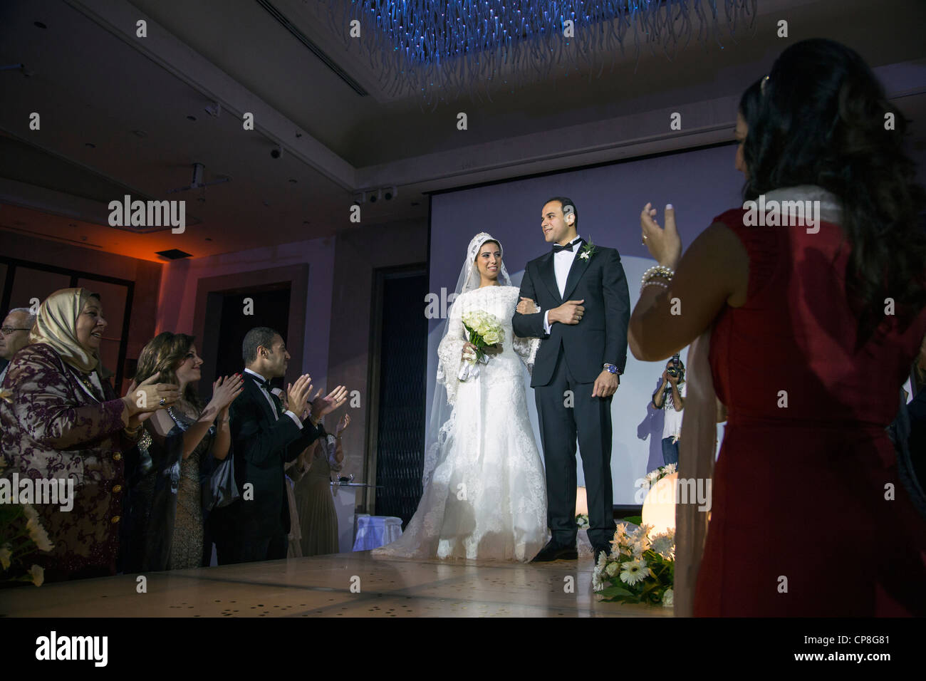 procession of the bride and groom at Egyptian wedding, Cairo, Egypt - Stock Image
