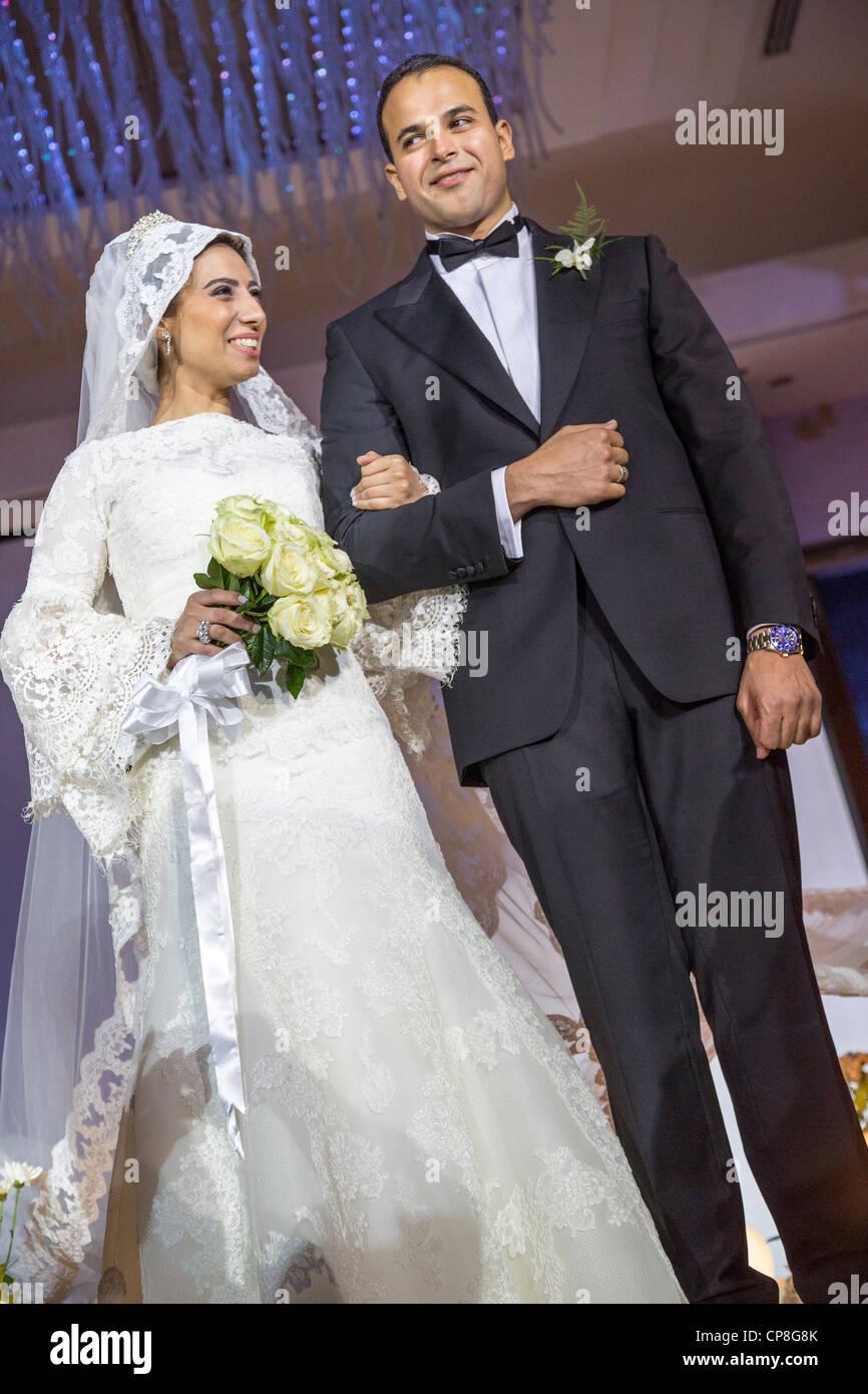 Veiled Bride And Groom At Egyptian Wedding Cairo Egypt Stock Photo