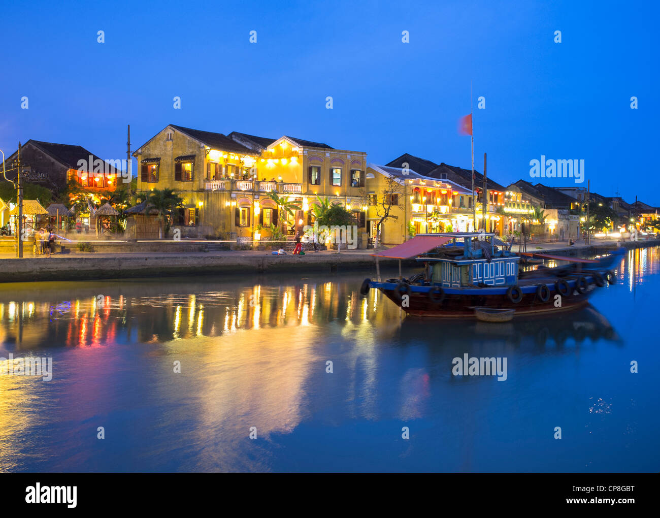 Evening view of historic old town of Hoian a UNESCO World Heritage site in Vietnam Stock Photo