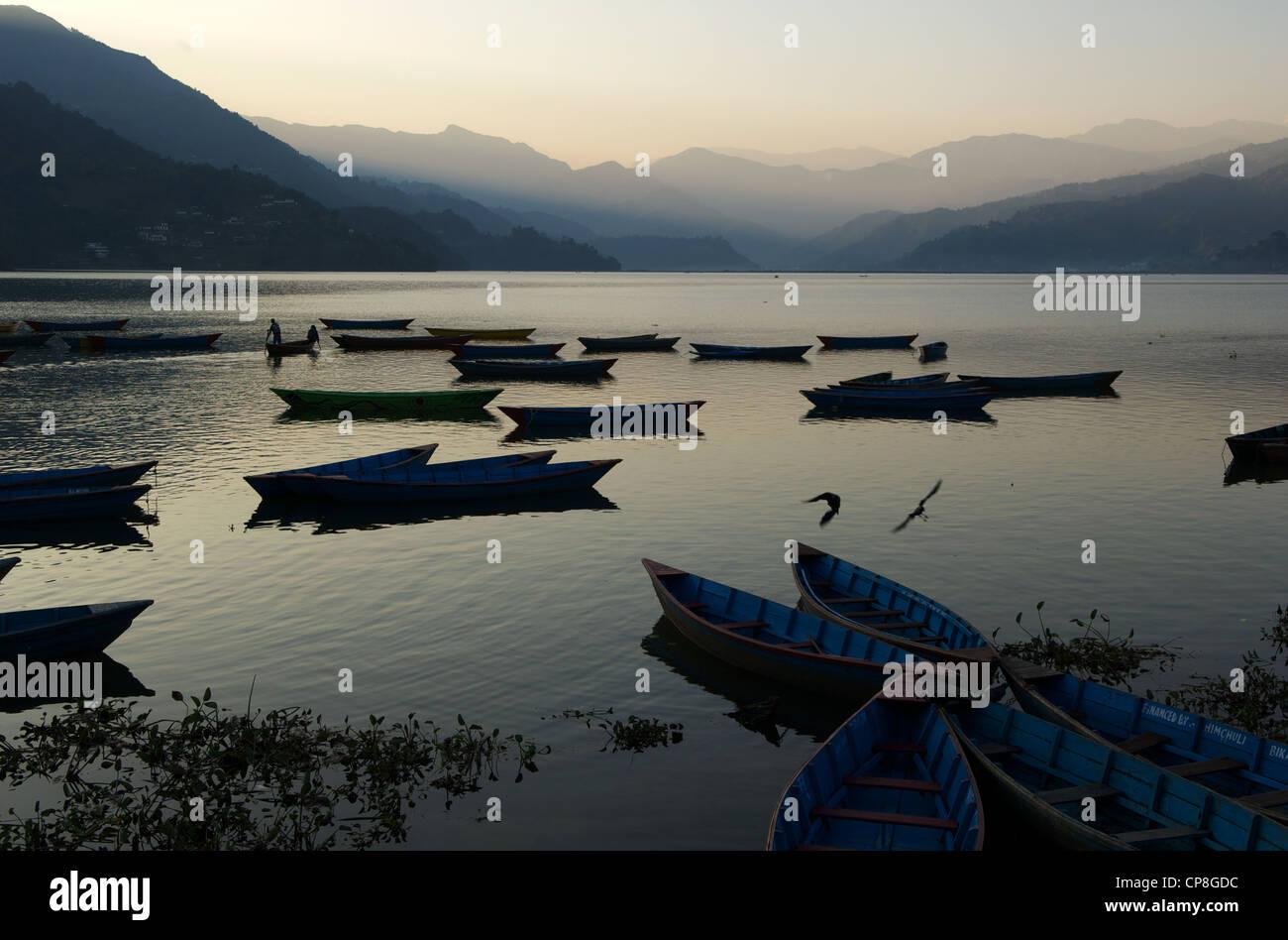 Phewa Lake, Pokhara, Nepal - Stock Image