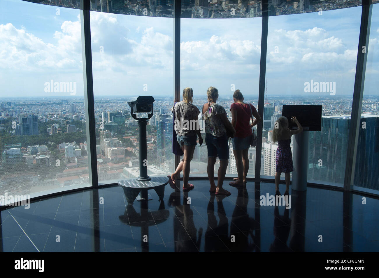 View from observation floor of Bitexco Financial Tower skyscraper in central Saigon or Ho Chi Min City in Vietnam - Stock Image