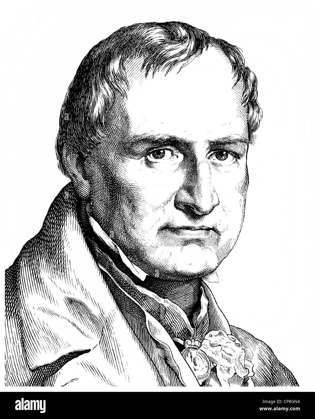 Christian Leopold Freiherr von Buch, 1774 - 1853, a German geologist, Historische Zeichnung aus dem 19. Jahrhundert, Portrait vo Stock Photo
