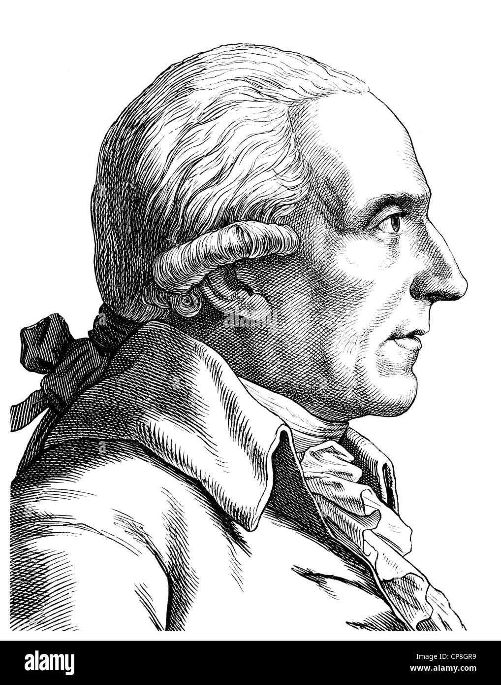 Christian Garve, 1742 - 1798, German philosopher of the late Enlightenment, Historische Zeichnung aus dem 19. Jahrhundert, - Stock Image