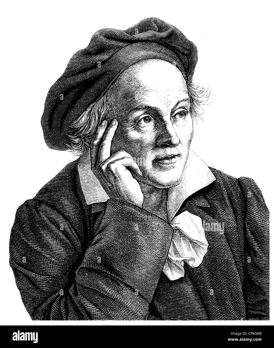 Karl or Carl Ludwig von Knebel, 1744 -1834, a German poet and translator, Historische Zeichnung aus dem 19. Jahrhundert, - Stock Image