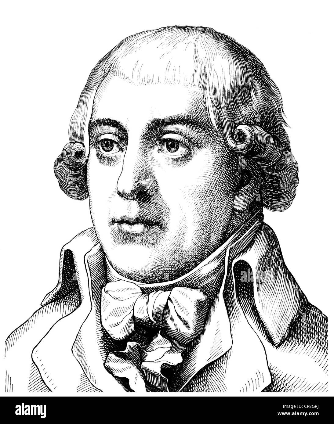 Gottfried August Buerger, 1747 - 1794, a German poet of the Enlightenment, author of The Adventures of Baron Munchausen, Stock Photo