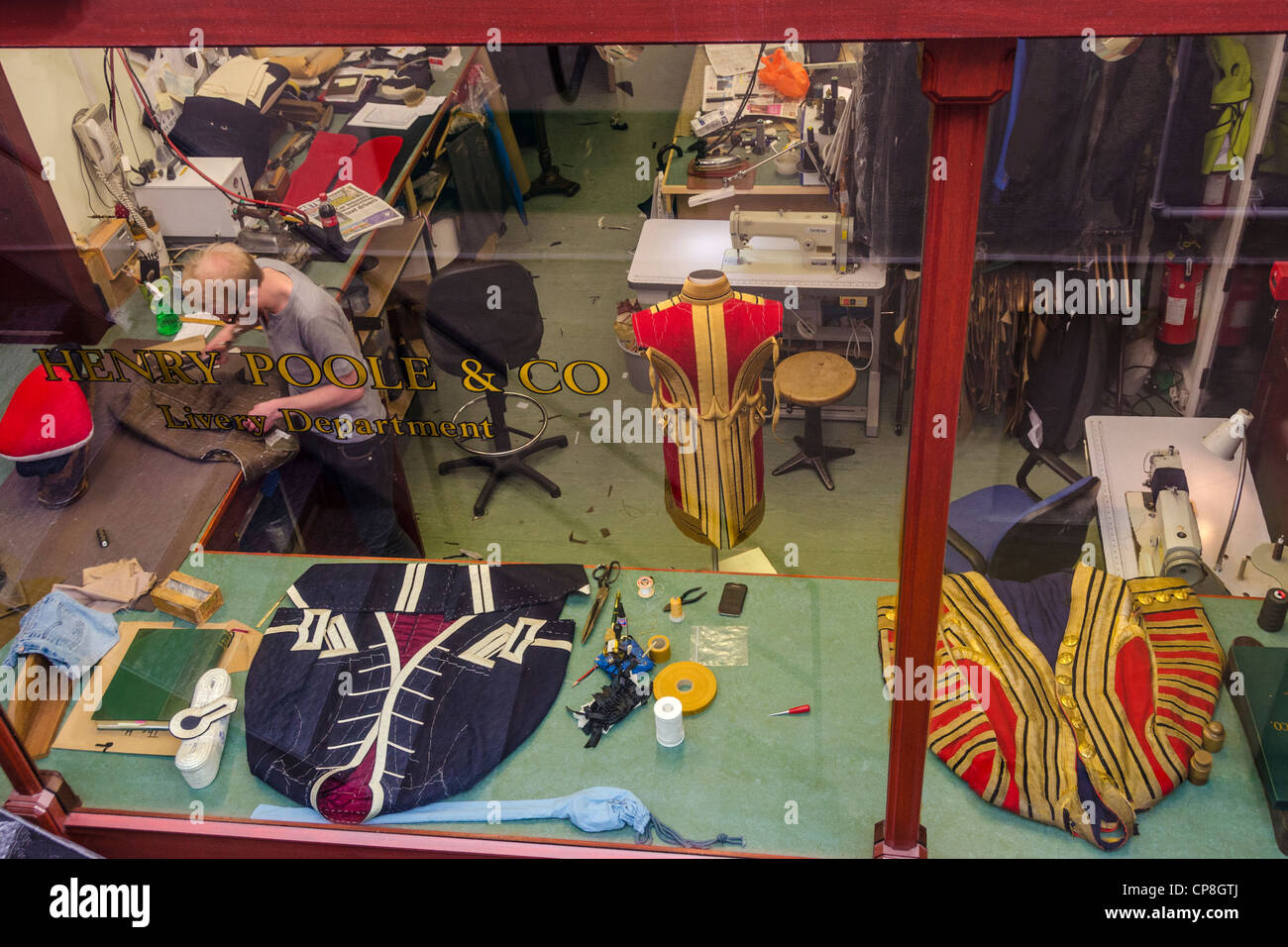 Henry Poole Tailors, Livery Department workshop. Saville Row London - Stock Image