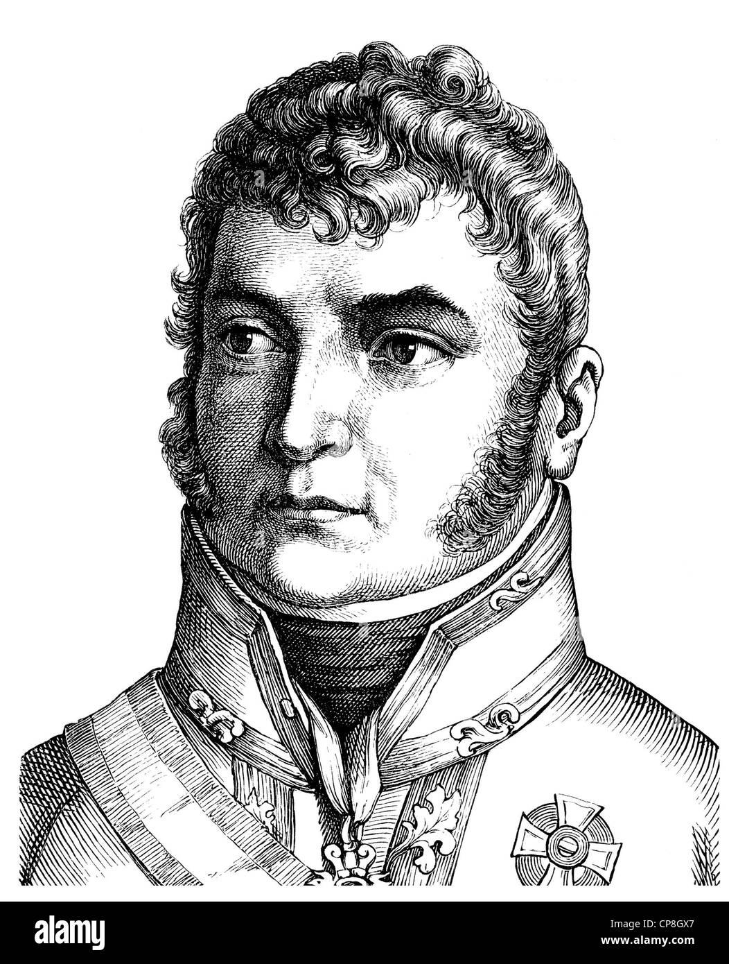 Karl Philipp Fuerst zu Schwarzenberg, 1771 - 1820, an Austrian field marshal and ambassador in Paris, Historische - Stock Image