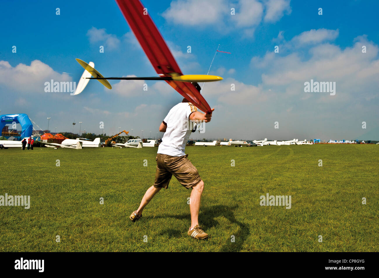 Europe Italy Piedmont Turin airport of Collegno  Word Air Games 2009  radio controlled model airplane aerobatics - Stock Image