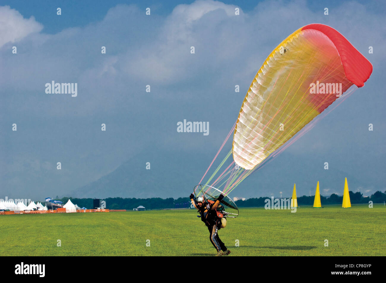 Europe Italy Piedmont Turin airport of Collegno  Word Air Games 2009 motorized paraglider - Stock Image