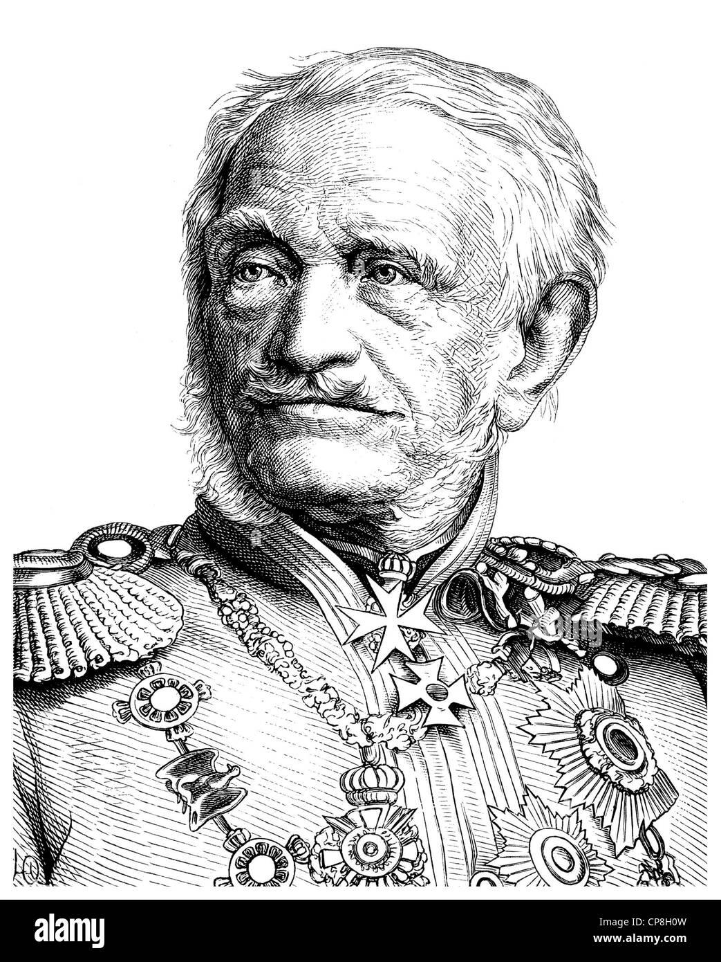 Friedrich Heinrich Ernst Graf von Wrangel, 1784 - 1877, a Prussian Field Marshal, Historische Zeichnung aus dem - Stock Image