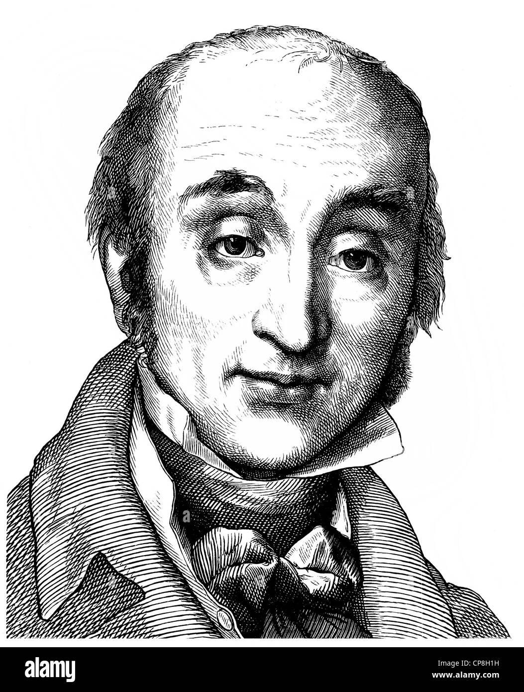 Johann Gottlob Nathusius, 1760 - 1835, a German businessman, entrepreneur and landowner, Historische Zeichnung aus Stock Photo