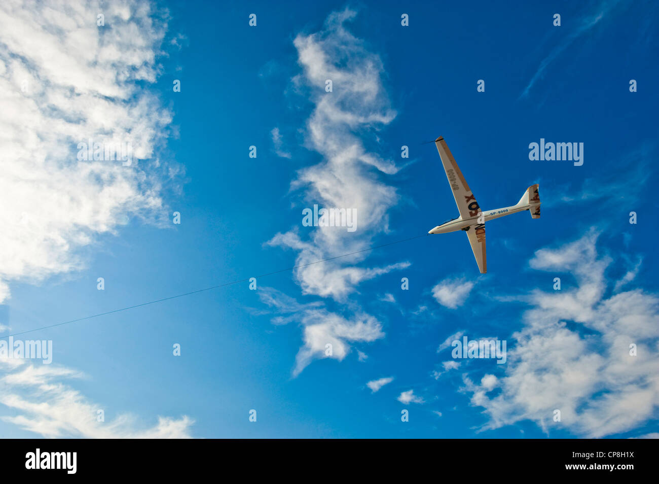 Europe Italy Piedmont Turin  airport of Collegno Word Air Games 2009 glider in flight - Stock Image