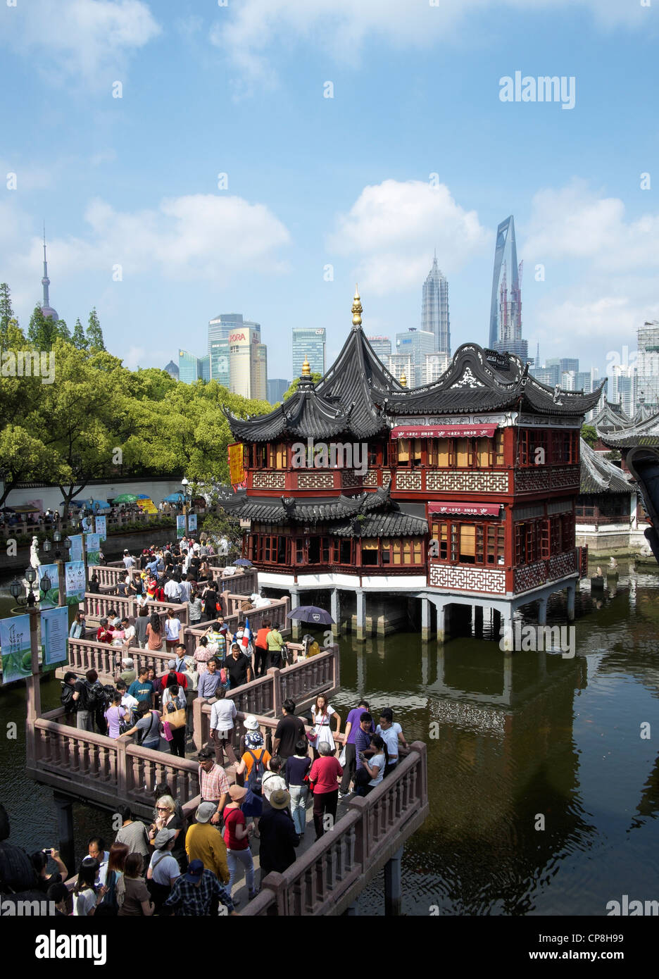 View of teahouse in YuYuan Garden in Shanghai China - Stock Image