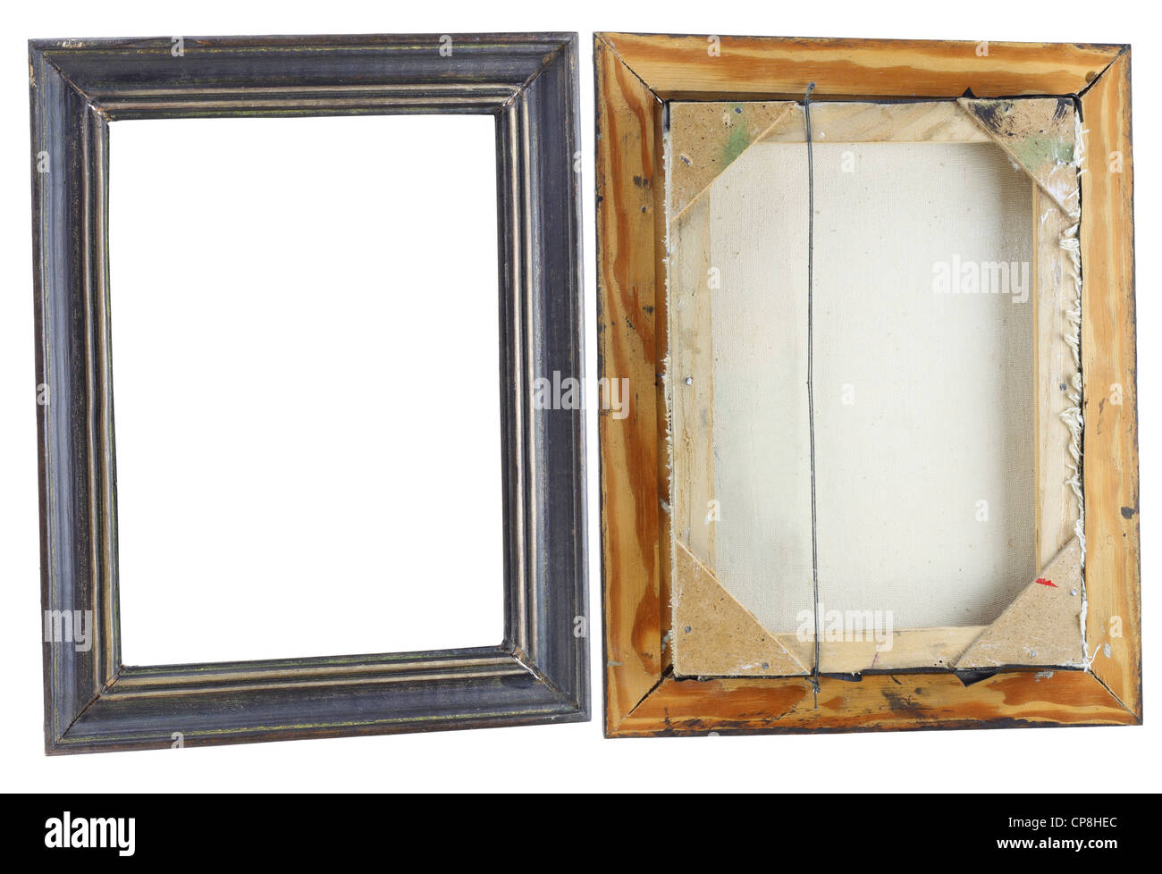 Old dirty curve frame for a picture, the front and back view. Isolated on white - Stock Image
