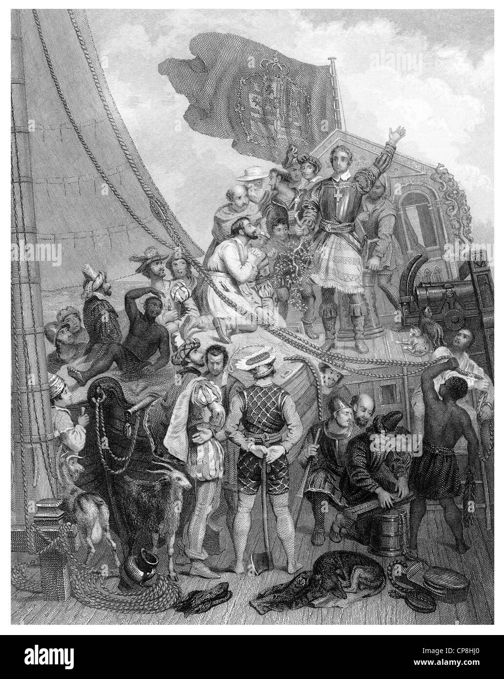 The Discovery of America in 1492 by the Genoese navigator Christopher Columbus, 1451-1506, Columbus discovering - Stock Image