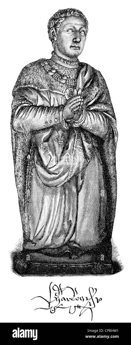 Charles, Duke of Orléans, 1394 - 1465, Duke of Orléans, a French poet, Historische Druck aus dem 19. Jahrhundert, - Stock Image