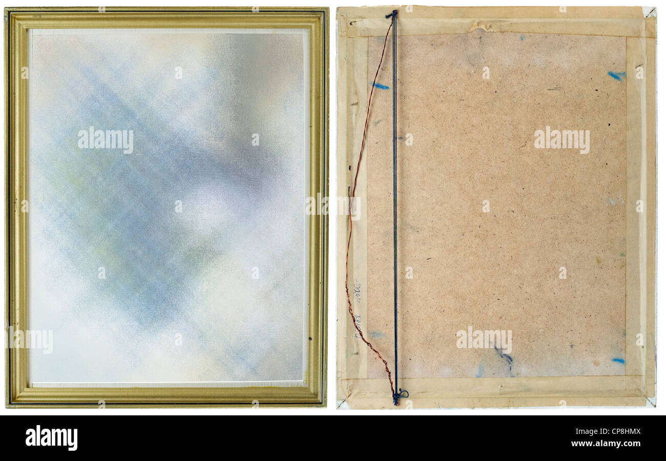 Old dirty yellow frame for a picture, the front and back view. Isolated on white with picture patch - Stock Image