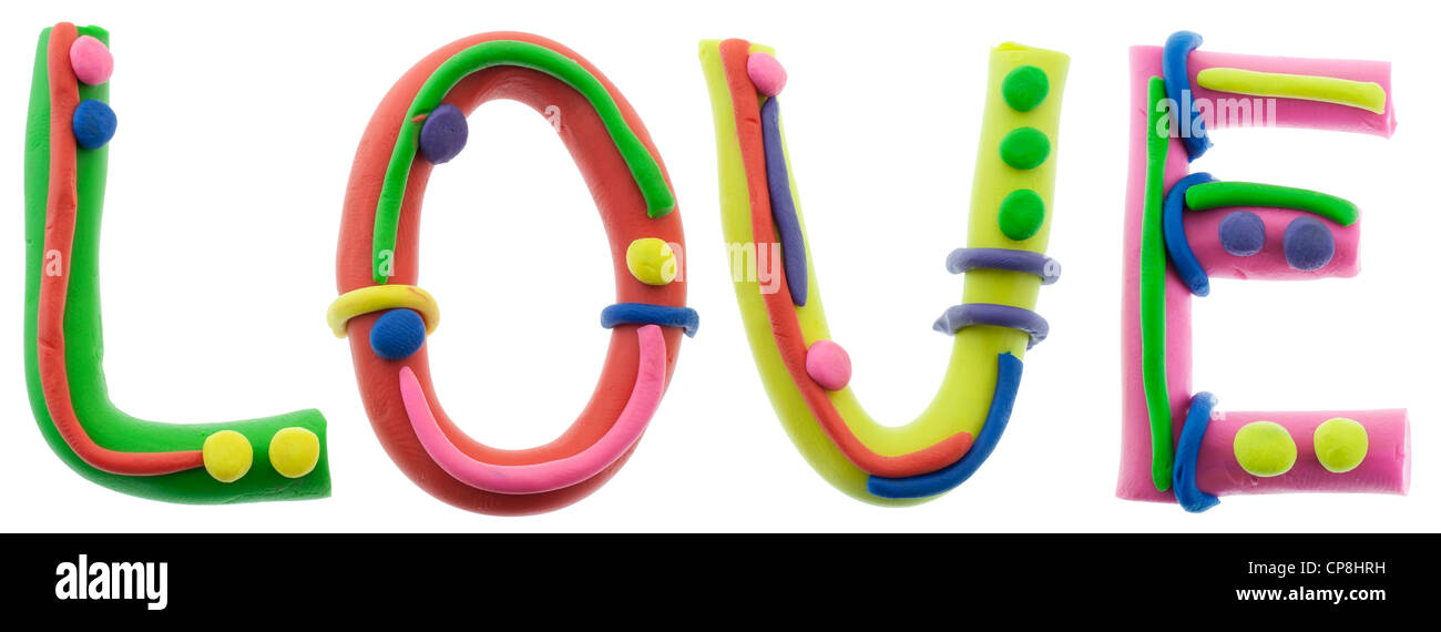 Real Cheerful Plastic Plasticine Alphabet L O V E Letters Love Word Isolated On White