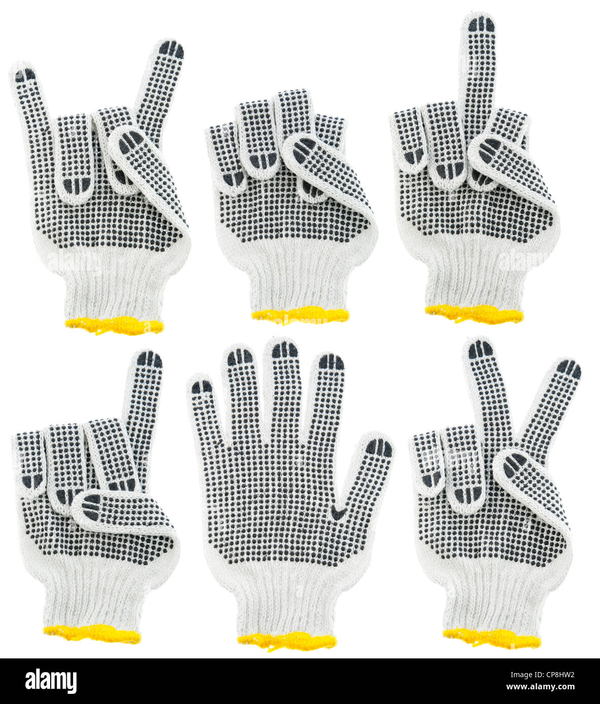 Working Gloves Signs Gesture And Symbols Set Devil Victory And