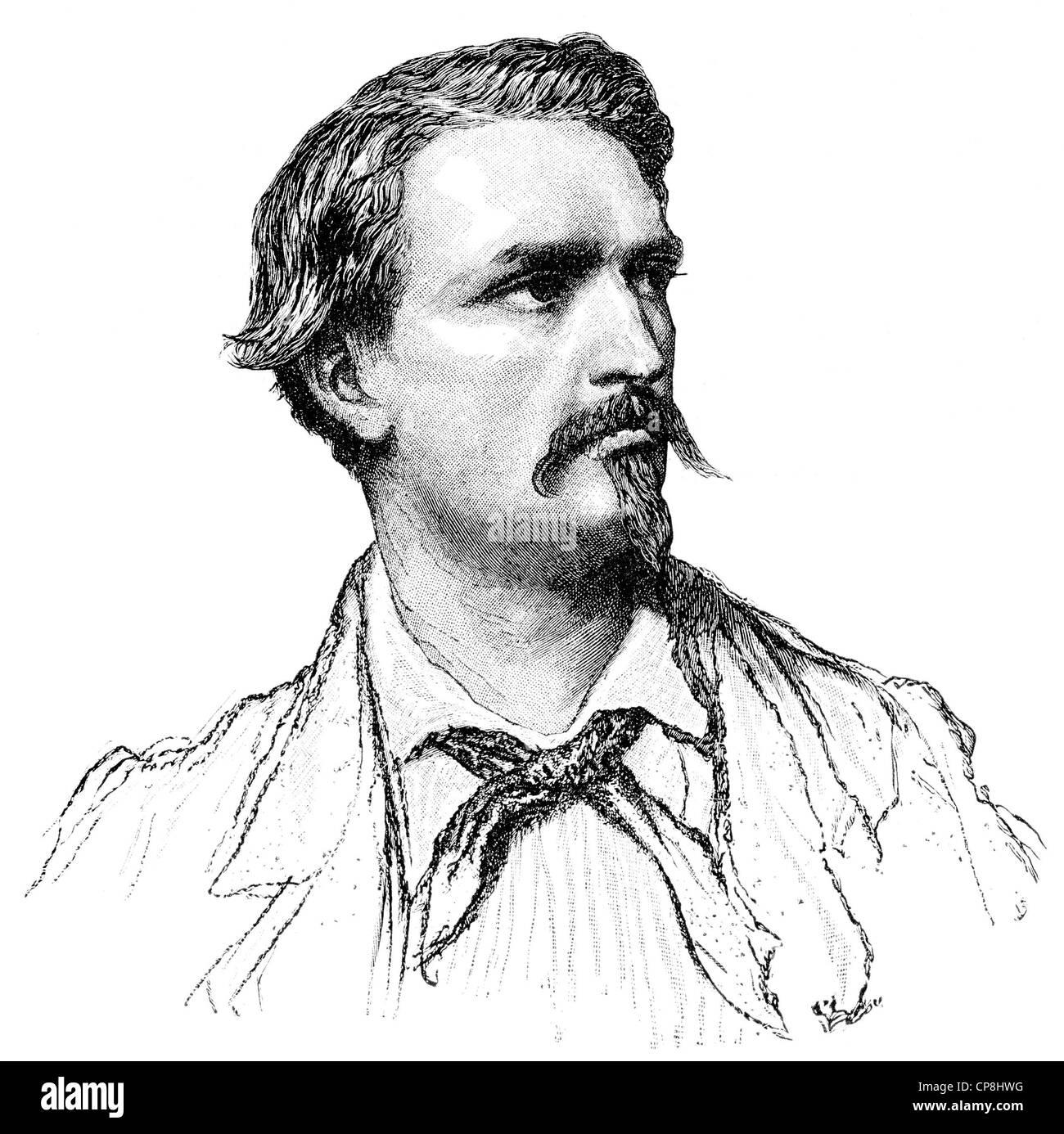 Frédéric Mistral, 1830 - 1914, a French writer, Historische Druck aus dem 19. Jahrhundert, Portrait von - Stock Image