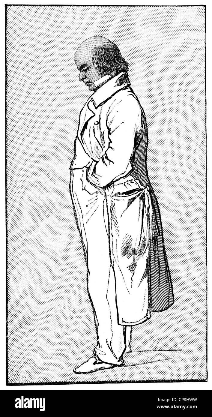 Pierre-Jean de Béranger, 1780 - 1857, a French lyric poet and lyricist, Historische Druck aus dem 19. Jahrhundert, - Stock Image