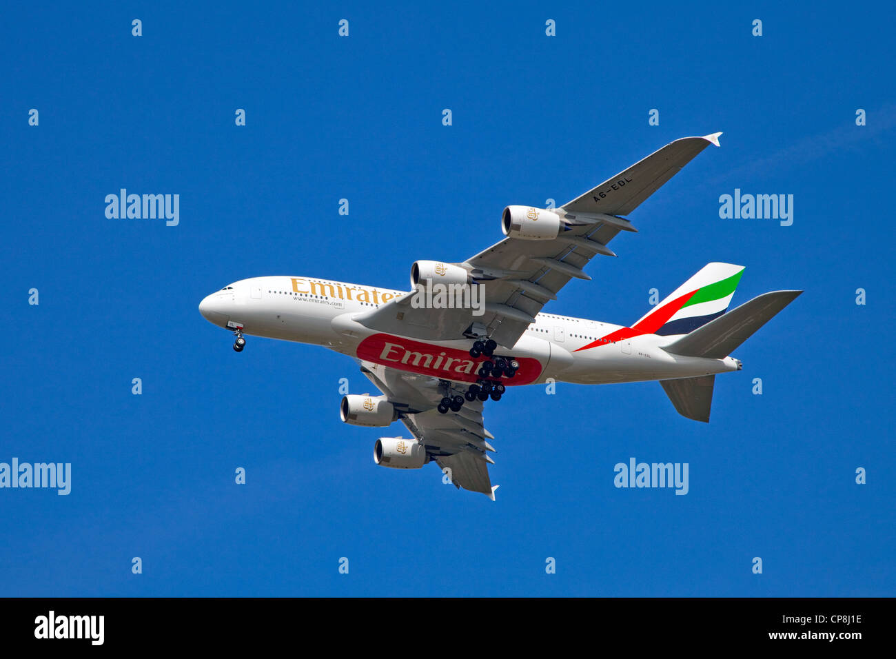 England, Manchester, Manchester Airport, Emirates A380 super jumbo on final approach into Manchester Airport on - Stock Image