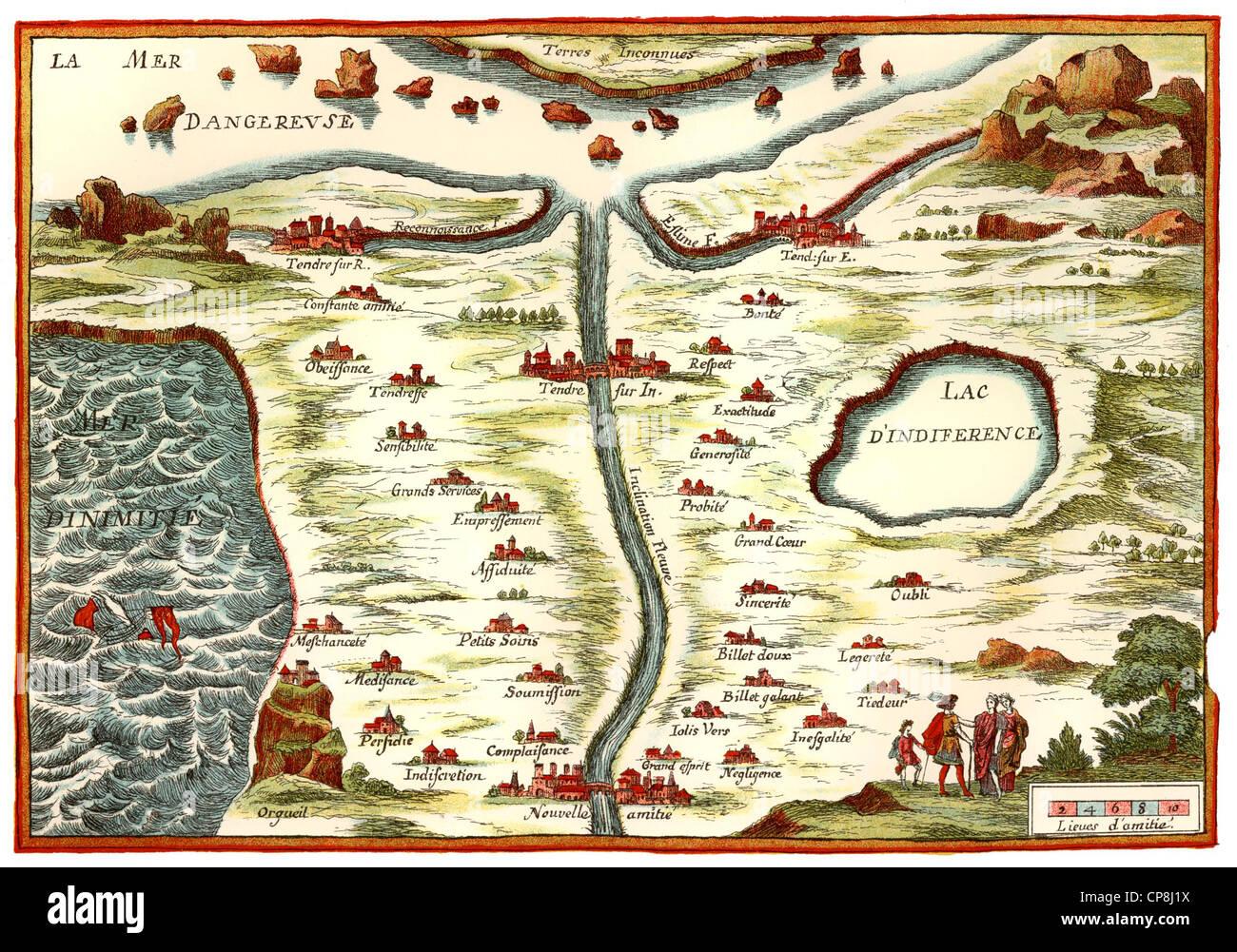 la carte de tendre map of love, Carte de Tendre map from the novel Clélie by