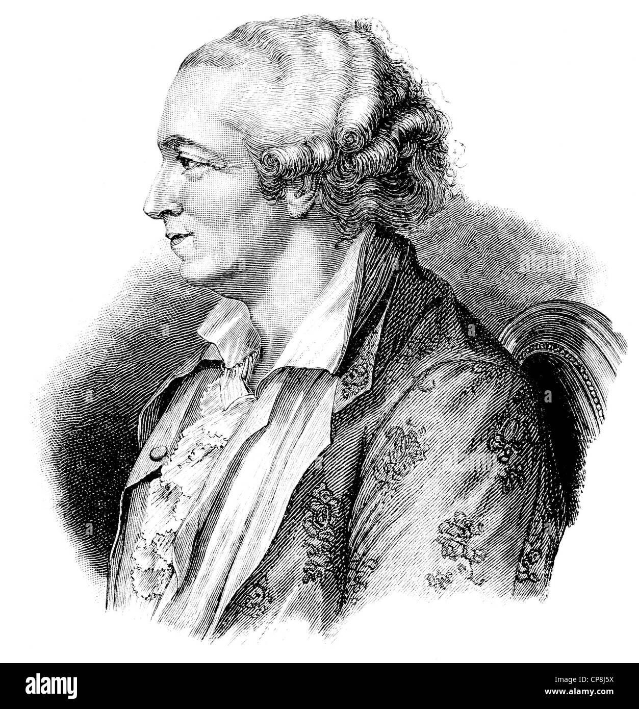 Pierre-Augustin Caron de Beaumarchais, 1732 - 1799, a French entrepreneur and writer, Historische Druck aus dem - Stock Image