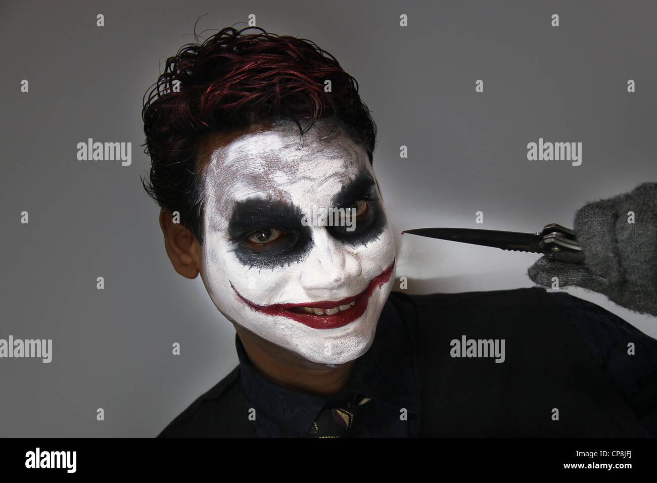 batman joker halloween makeup stock photo: 48133334 - alamy