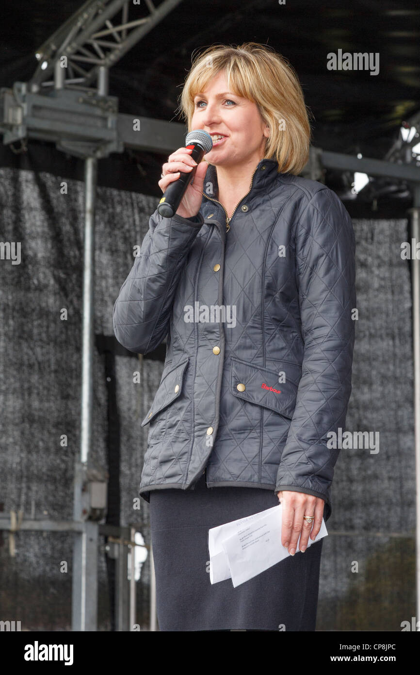 BBC television presenter Sian Lloyd introduces the official opening of All Wales Coast Path in Flint Flintshire - Stock Image
