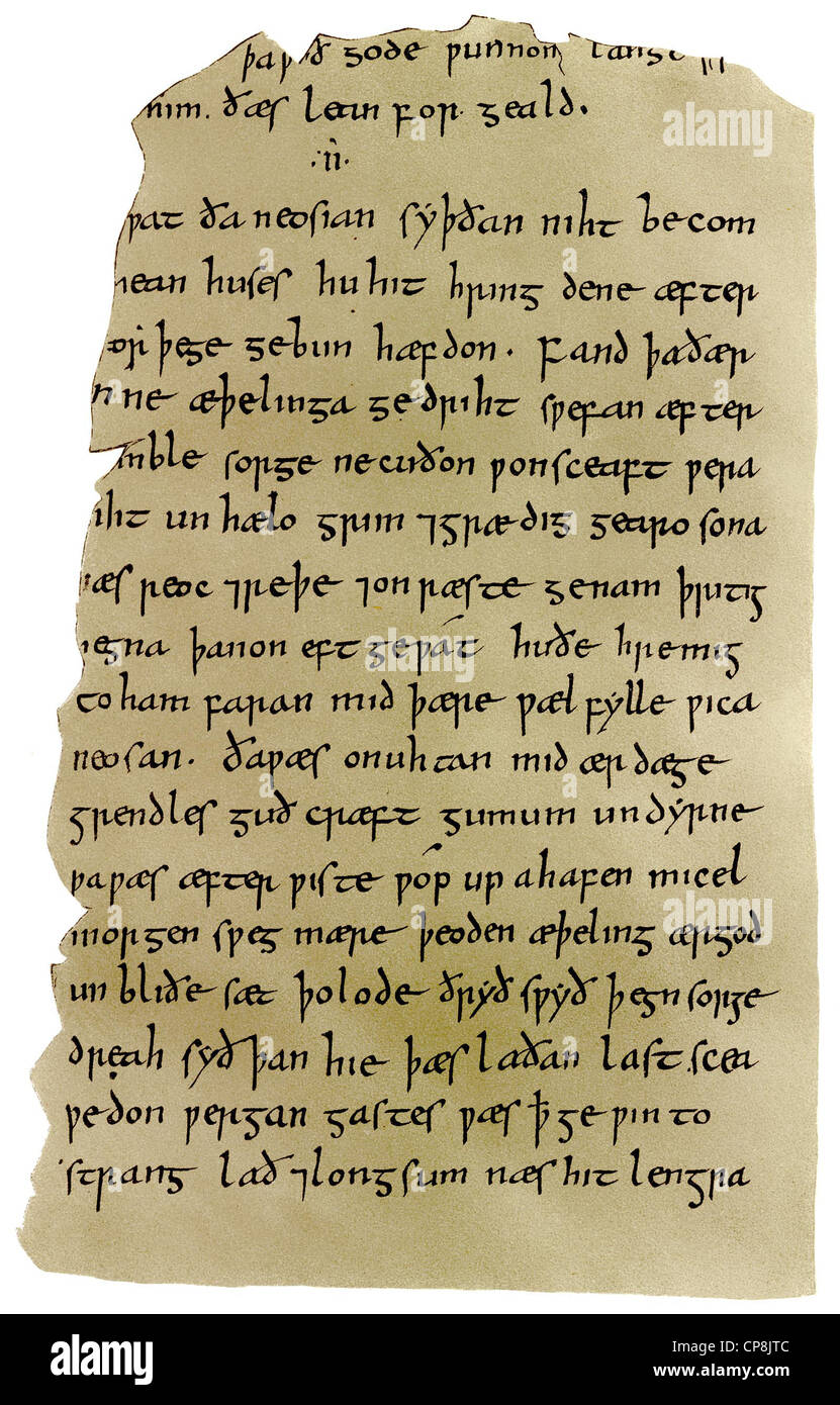 manuscript of Beowulf, an epic heroic poem in Anglo-Saxon alliterative verse from the 10th Century, Historische - Stock Image