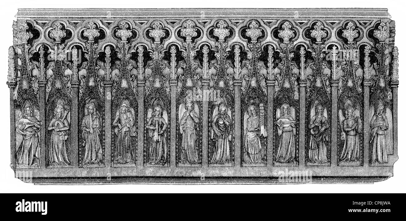 Cantoria or Minstrel's Gallery, a stone relief with twelve angels playing musical instruments, from 1340, St. - Stock Image