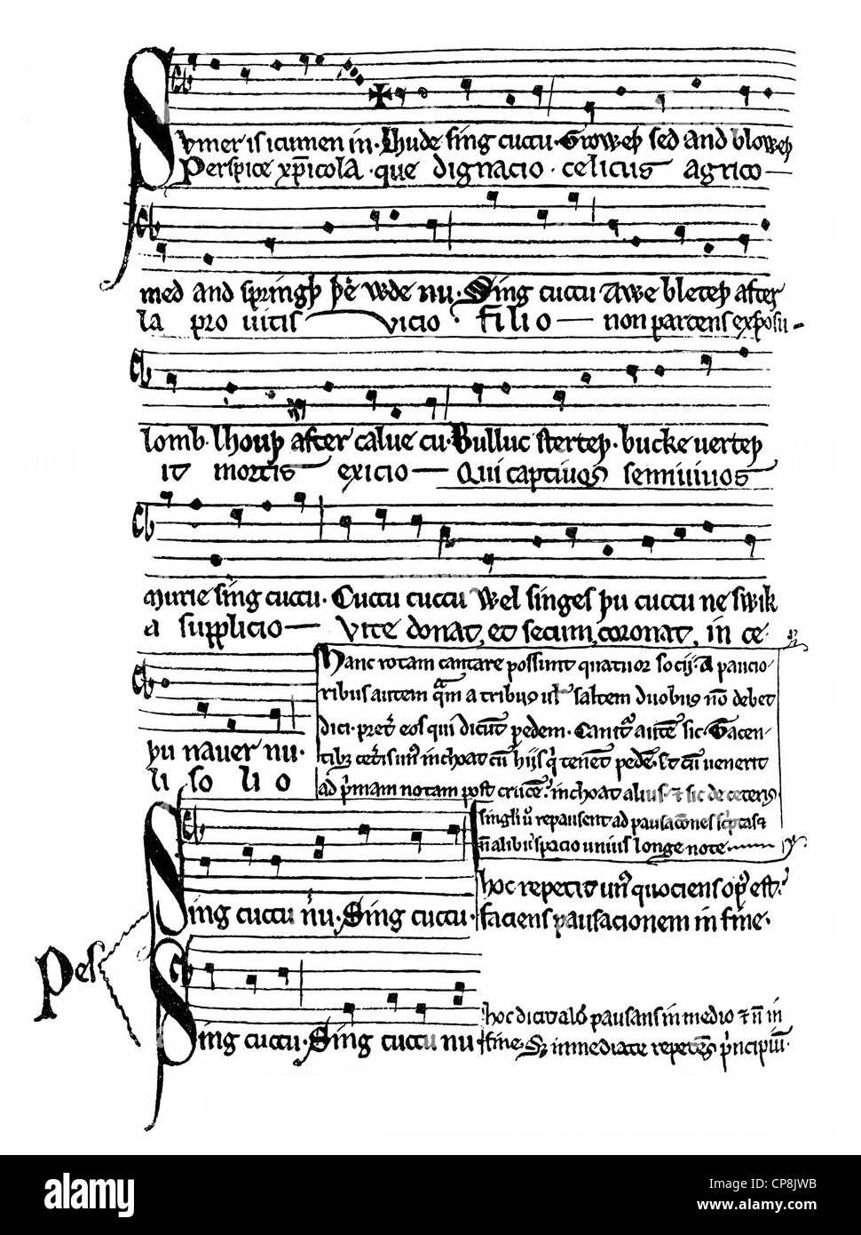 manuscript from the 13th Century, Middle English song, Ein mittelengisches Lied aus dem 13. Jahrhundert - Stock Image