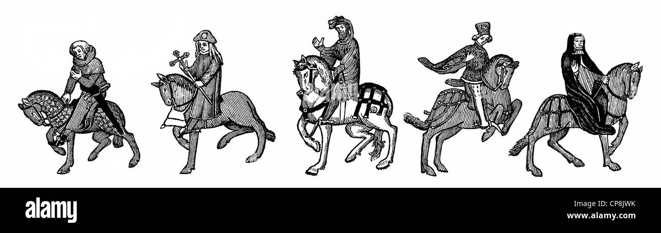 figures on horseback after the Ellesmere Manuscript, 15th century, from Geoffrey Chaucer's Canterbury Tales, - Stock Image