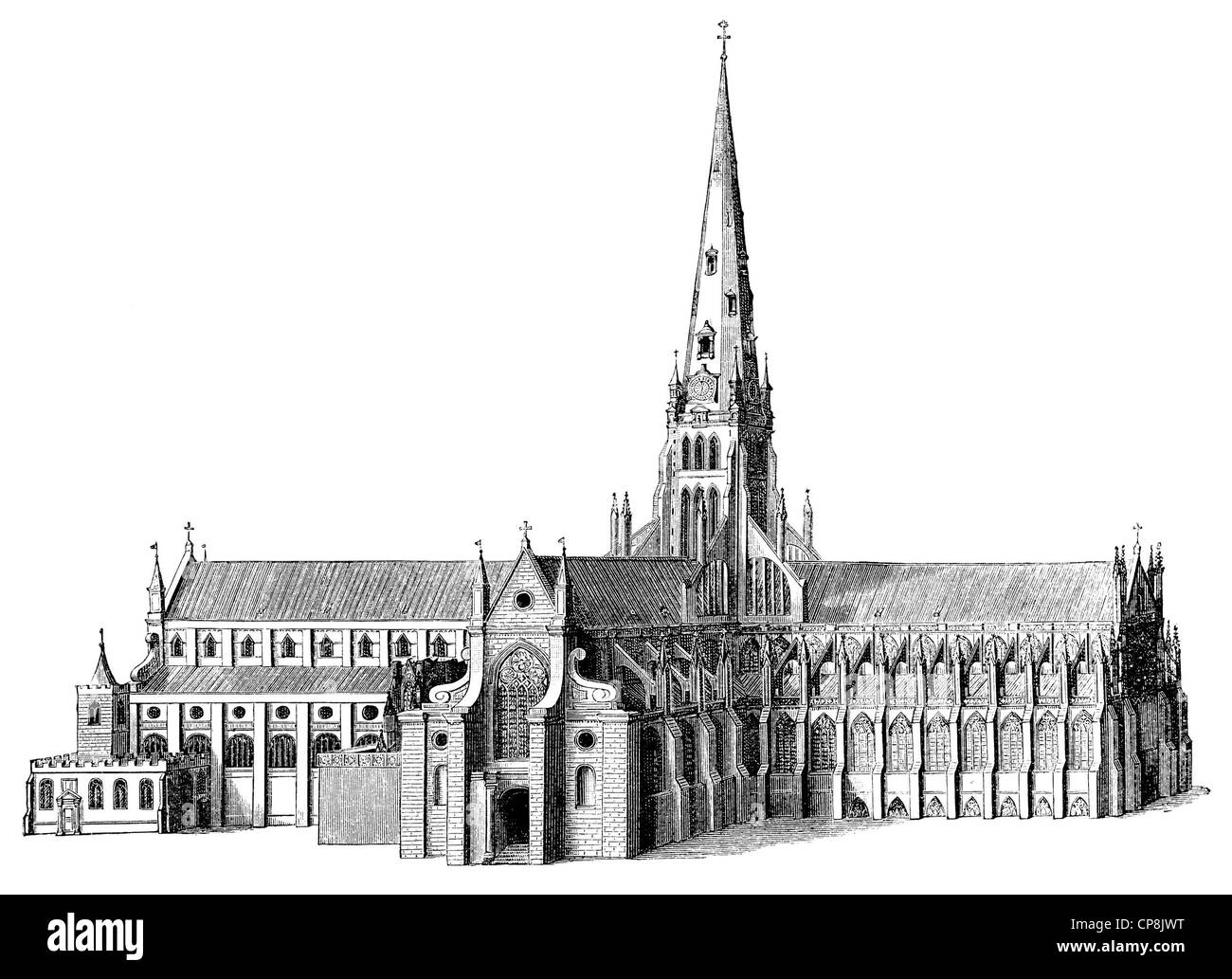 depiction of the 17th Century predecessor of St Paul's Cathedral, a cathedral in London, England, United Kingdom, Stock Photo