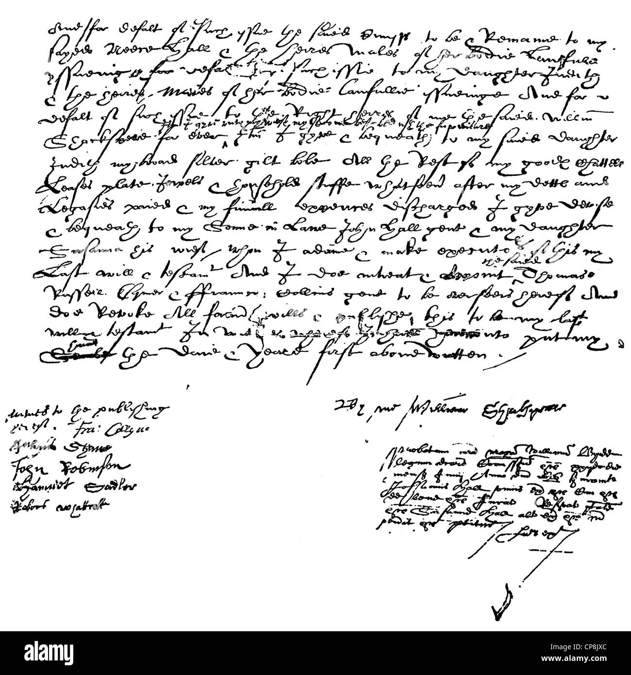 Historical manuscript, Testament of William Shakespeare, 1564 - 1616, an English playwright, poet and actor, Historische - Stock Image