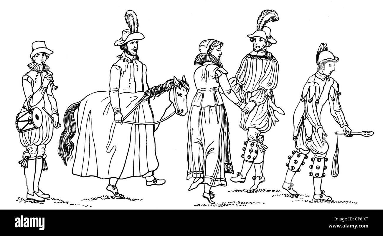 depiction of a Morris dance, Historische Zeichnung aus dem 19. Jahrhundert, Darstellung von einem Moriskentanz - Stock Image