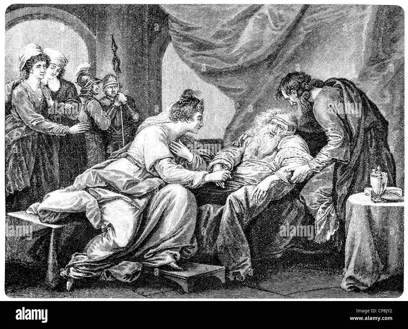 King Lear and his daughter Cordelia, after the tragedy by William Shakespeare, 1564 - 1616, an English playwright, Stock Photo