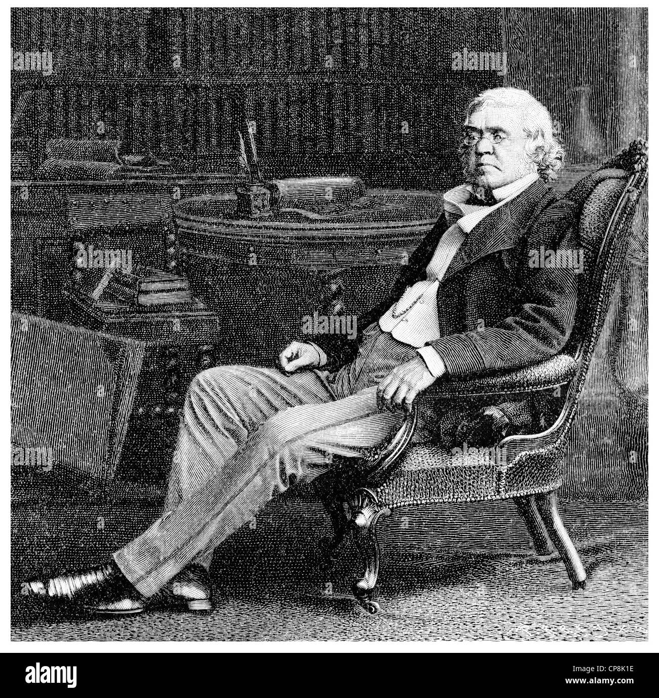 William Makepeace Thackeray, 1811 - 1863, an English writer, Historische Zeichnung aus dem 19. Jahrhundert, Portrait - Stock Image