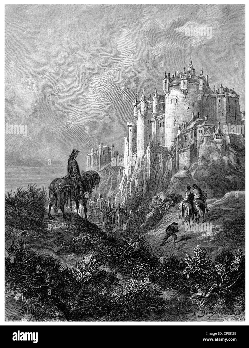 Historical illustration after the book Idylls of the King by Alfred Tennyson, 1st Baron Tennyson, 1809 - 1892, a - Stock Image