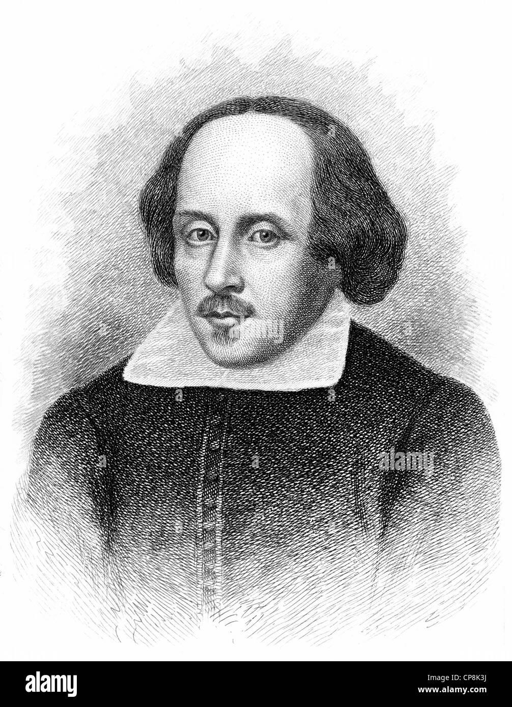 William Shakespeare, 1564 - 1616, an English playwright, poet and actor, Historischer Kupferstich, Portrait von - Stock Image