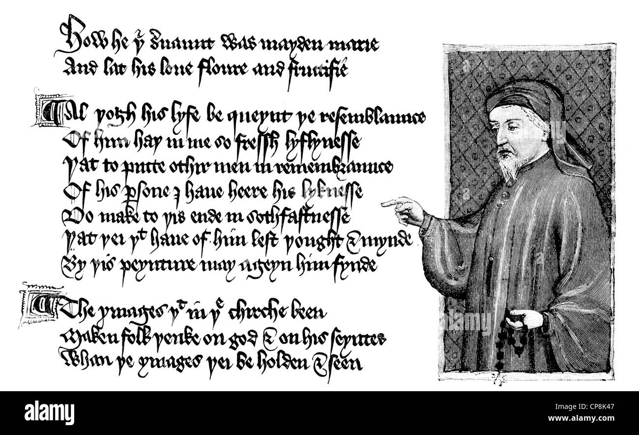 Geoffrey Chaucer, ca. 1343 - 1400, by Thomas Hoccleve or Occleve, ca. 1368-1426, The Regiment of Princes, 1412, - Stock Image