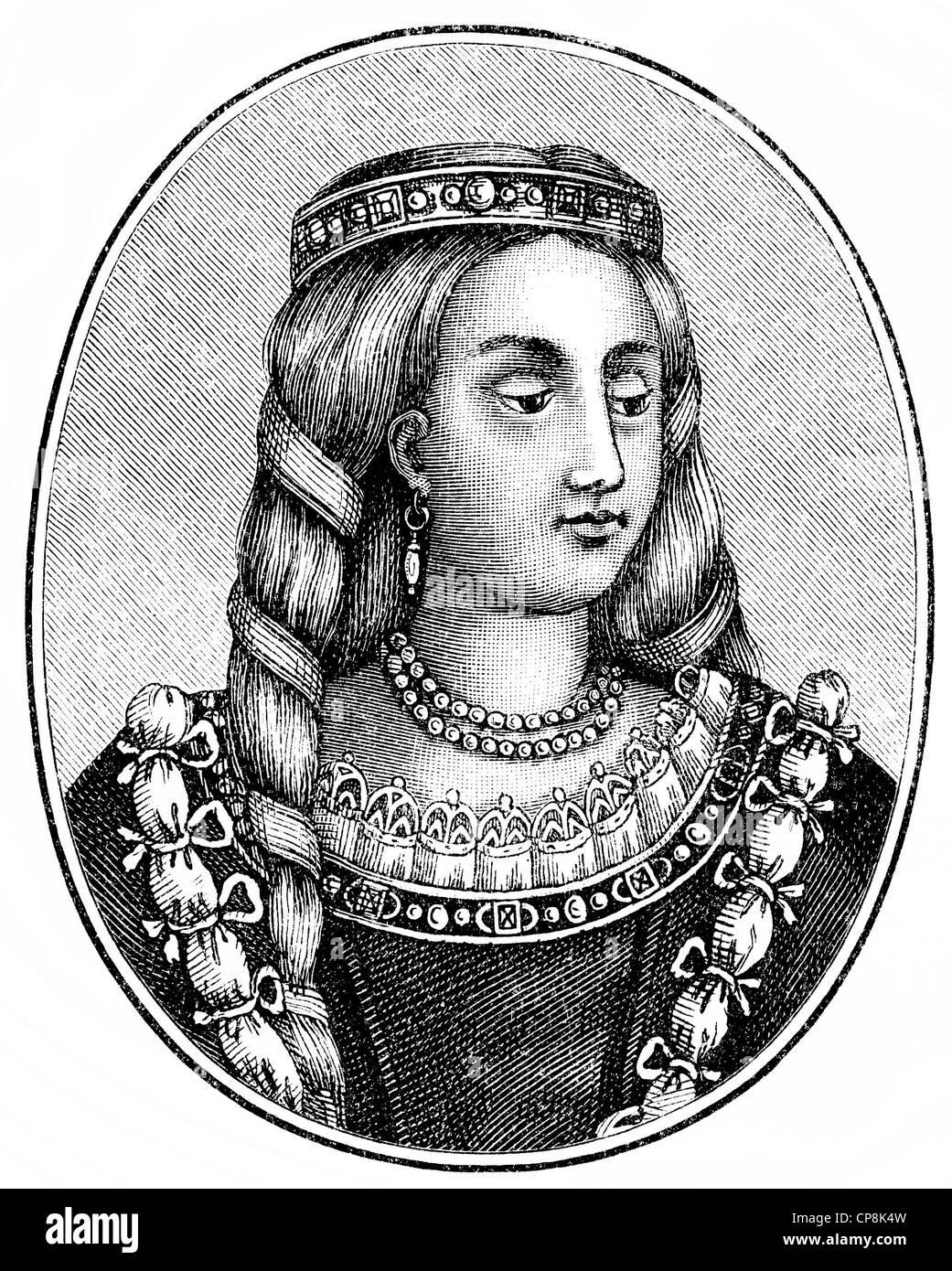 Joan Beaufort, 1406 - 1445, Queen of Scotland, Historische Zeichnung aus dem 19. Jahrhundert, Portrait von Joan - Stock Image