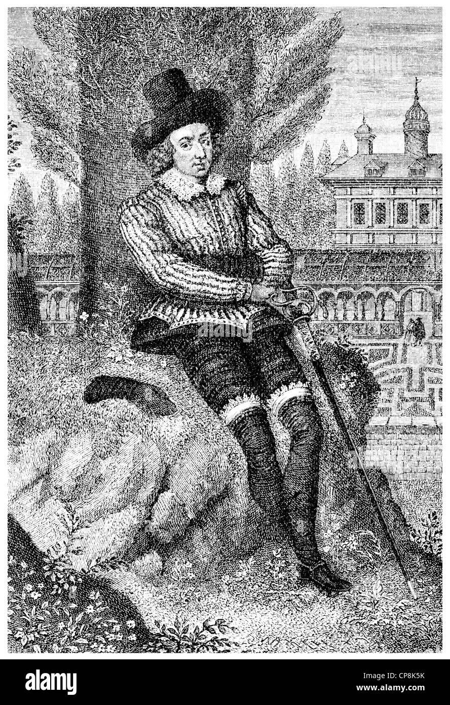 Sir Philip Sidney, 1554 - 1586, an English statesman, soldier and writer, Historische Zeichnung aus dem 19. Jahrhundert, - Stock Image