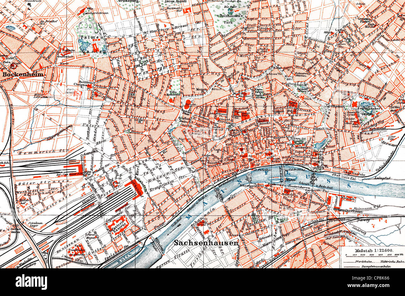 Historical map of Frankfurt am Main, Hesse, Germany, 1890 Stock ...