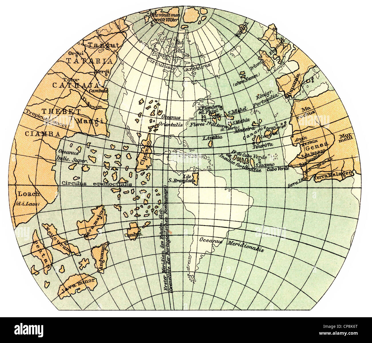 Historical illustration from the 19th Century, globe of 1492, representation of the hemisphere by Martin Behaim, - Stock Image