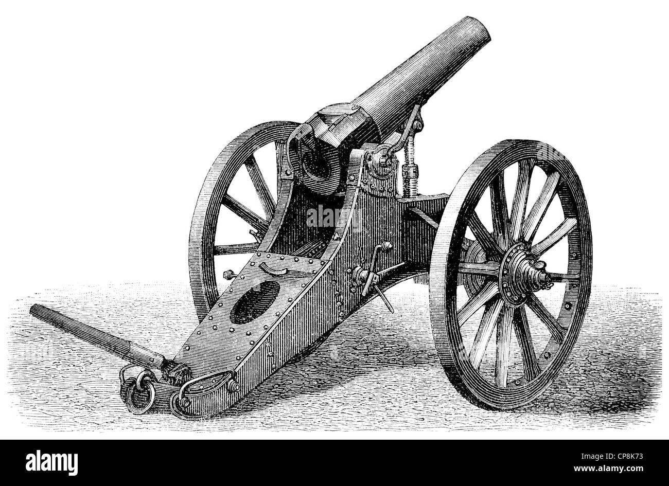 Historical illustration from the 19th Century, representation of a field howitzer Stock Photo